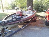 91 ranger 361v 18ft with evinrude 150 on single axle