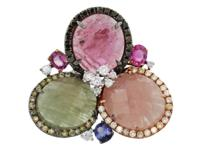 Style 18k White Gold Purple,Blue, Pink and Green