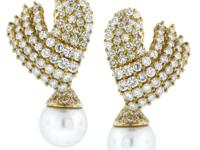 StylenDiamond Cluster Earrings with South Sea Pearl