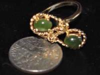 18K GOLD to silver RING size: 5 2 REAL JADE STONES