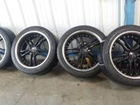 19 INCH AVARUS BLACK AND CHROME staggered tires and