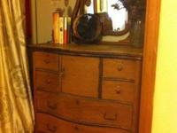 1900's light oak highboy dresser. 4 full drawers, 4