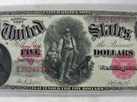 1907 Legal Tender Five Dollar United States Large Size