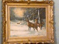 winter scene painting / with deer...unknown artist but