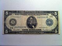 1914 - Large 5 Dollar FEDERAL RESERVE NOTE - Blue