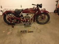 1925 Indian Scout Motocycle. This is a rare and
