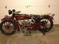 1925 Indian Scout Motocycle. This is a unusual and