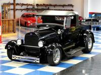 1929 Ford street rod truck. Midnight black with red