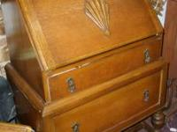 Check out this cute Oak 1930-40's 2 drawer drop front