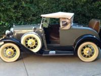 1930 Ford Model A 2 Door Roadster Convertible Antique
