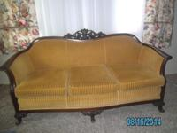 Gorgeous Gold Vintage Sofa and matching Chair. Carved