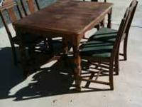 1930's walnut table with 5 chairs (one is a captain's
