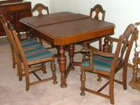 Vintage 1930's dining table, 1 captain's chair w/ 4