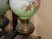 Brass oil hurricane lamp converted to electric with a