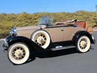 1931 Ford Model A 2 Door Roadster with black and tan