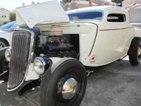 Ford 3 Window Coupe Street Rod, Custard White, V8 454