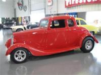 1934 FORD COUPE, RED ALL STEEL BODY WITH BLACK CLOTH