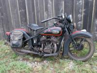 1934 Harley VLD Big twin. This motorcycle retains its