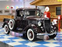1935 Ford Pickup Truck painted in Burgundy with black