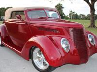 1937 Ford 5 Window Street Rod Gorgeous Maroon.