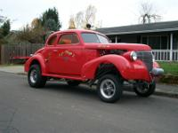 1939 CHEV COUPE. CORVETTE RED-AMBER LEXAN SIDE WINDOWS,