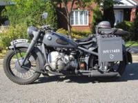 1939 WWII Military BMW R71 replica This motorcycle has