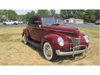 1940 Ford Convertible - Exterior- Maroon - Interior -