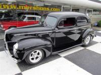 1940 Ford Sedan Jet Black with Red and Black Leather