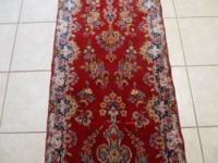 Beautiful Iran runner. Colors: Red, blue, nat, brown,