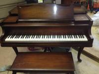 Antique Winter Queen Anne Walnut Baby Grand Piano Tuned