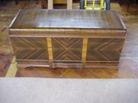 Walnut and Satin wood waterfall blanket chest made in