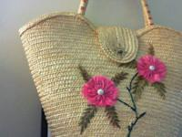 1940s  HANDMADE WOVEN, STRAW PURSE HANDBAG.   PURCHASED