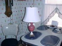 circa 1940's, porcelain body table light on metal base,
