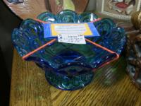 Blue glass colonial footed bowl. L.E. Smith is an