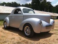 Beautiful silver new 'glass body 1941 Willys coupe
