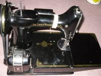 A vintage 1945 Singer sewing machine working with