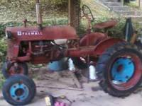 1947 Farmall Cub Tractor. Runs. Blade & 5 Foot Mower