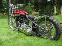 """1947 FL Knucklehead Bobber"". Fresh gas was added, a"