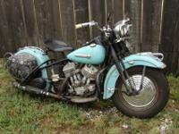 1947 Harley UL Big twin. This motorcycle was repainted