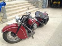 A very rare classic 1947 Indian Chief motorcycle. It