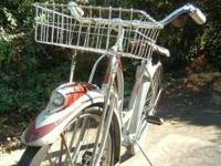 1948 Antique Schwinn ladies maroon and grey bicycle.