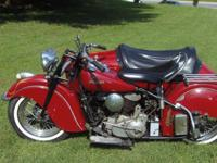 1948 Indian Chief bike with sidecar. This bike runs and