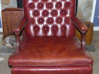 THIS IS A KETTINGER SWIVEL, ROLLING, LEATHER, OFFICE