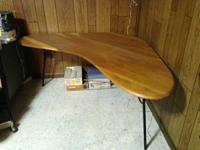 Solid wood table with metal legs, Mid-Century Modern,