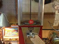 1950's Oak Brand Five Cents Gumball Machine with Key
