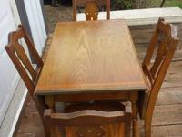 SELLING: ORIGINAL 1950'S OAK DROP LEAF TABLE WITH 4