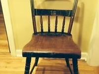 Seven stenciled chairs recently re glued. Good