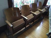 Set of four circa 1950 auditorium seats used for home