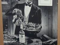 Vintage black and white, De Luxe Bourbon Whiskey Ad out
