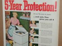 For sale is a 1951 Thor Spinner Washer Machine ad,
